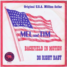 MEL AND TIM Backfield in Motion / Do Right Baby (Pink Elephant 25505) Holland 1969 PS 45
