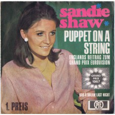 SANDIE SHAW Puppet On A String / Had A Dream Last Night (PYE HT 300081) Germany 1967 PS 45