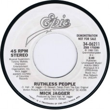 MICK JAGGER Ruthless People / Ruthless People (Epic 34-06211) USA 1986 white label promo 45 (Rolling Stones)
