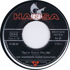 13TH FLOOR ELEVATORS You're Gonna Miss Me / Tried To Hide (Hansa 19188) Germany 1966 45
