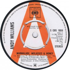 ANDY WILLIAMS Marmalade, Molasses & Honey / Who Was It (CBS 1059) UK 1973 Demo 45
