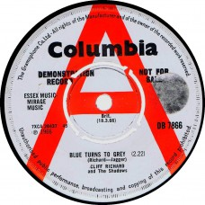 CLIFF RICHARD AND THE SHADOWS Blue Turns To Grey (Columbia DB 7866) UK 1966 Demo 45