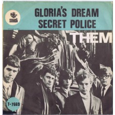 THEM Gloria's Dream / Secret Police (Sonet T-7669) Sweden 1966 PS (green) 45