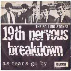 ROLLING STONES 19th Nervous Breakdown / As Tears Go By (Decca F.12331) Denmark 1966 PS 45