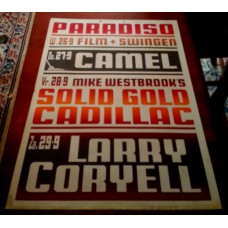 CAMEL / SOLID GOLD CADILLAC / LARRY CORYELL - Paradiso Amsterdam Sept. 27/28/29 1973 original concert poster (61x43cm) screenprint