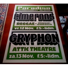 CIMERONS / GRYPHON - Paradiso Amsterdam Nov.-12/13-1976 original concert poster (61x43cm) screenprint