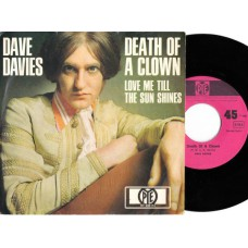 DAVE DAVIES Death Of A Clown (PYE) Germany 1967 PS 45 (Kinks)