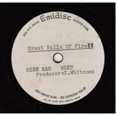 MAE WEST Great Balls Of Fire (Emidisc Acetate) UK 1968 Acetate